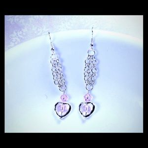 Jewelry - 💖✨Silver Chains Pink Beaded Heart Earrings✨💖